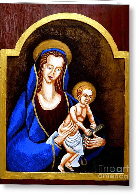 Jesus Mixed Media Greeting Cards - Madonna and Child Greeting Card by Genevieve Esson