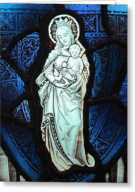 Jesus Glass Art Greeting Cards - Madonna and Child Greeting Card by Gilroy Stained Glass