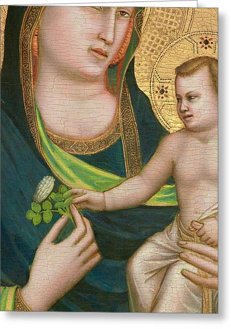 Virgin Greeting Cards - Madonna and Child Greeting Card by Giotto di Bondone