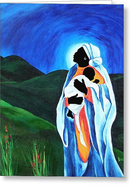 Haitian Greeting Cards - Madonna And Child - Hope For The World Greeting Card by Patricia Brintle