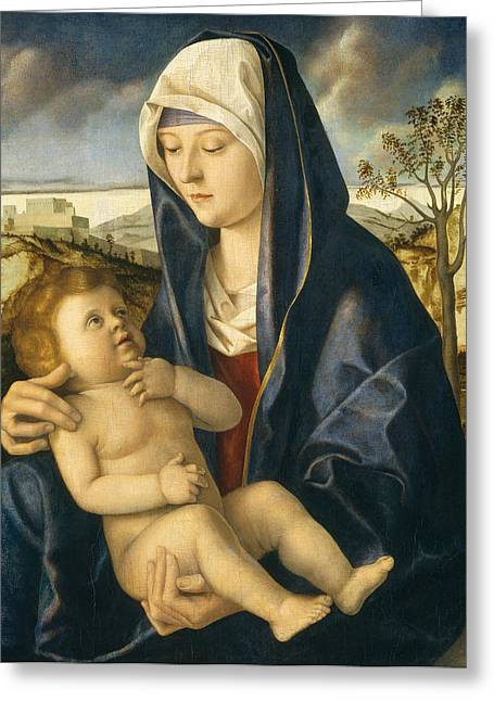 Three Children Paintings Greeting Cards - Madonna and Child in a Landscape Greeting Card by Giovanni Bellini
