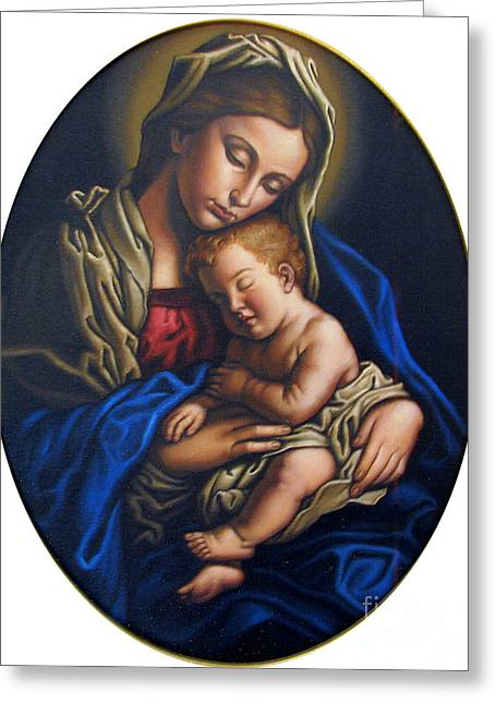 Christ Child Greeting Cards - Madonna and Child Greeting Card by Jane Whiting Chrzanoska