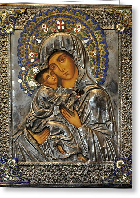 Byzantine Icon Greeting Cards - Madonna And Child Greeting Card by Jay Milo