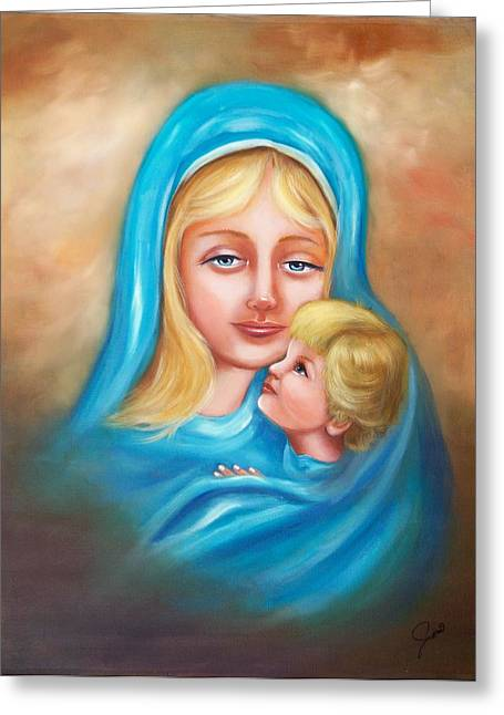 Religious Greeting Cards - Madonna and Child Greeting Card by Joni McPherson