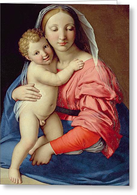 Embrace Greeting Cards - Madonna and Child Greeting Card by Lorenzo di Credi