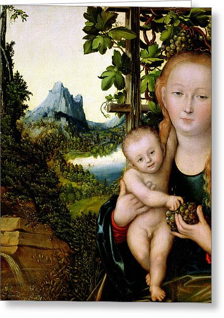 Virgin Greeting Cards - Madonna and Child Greeting Card by Lucas the elder Cranach