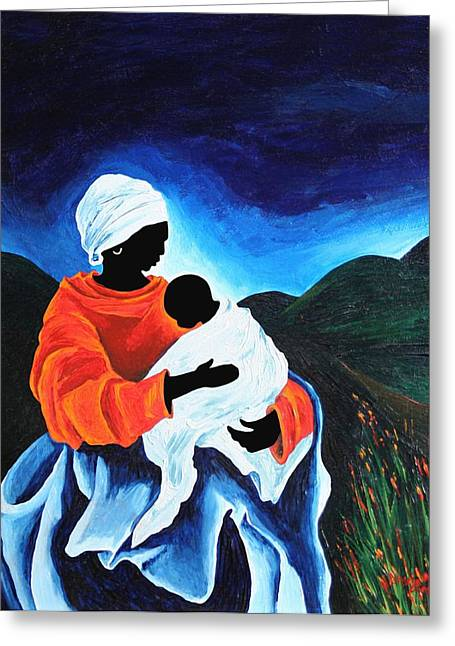 Female Christ Greeting Cards - Madonna And Child - Lullabye, 2008 Greeting Card by Patricia Brintle