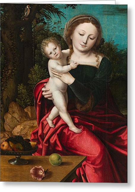 Madonna And Child Greeting Card by Master of the Parrot
