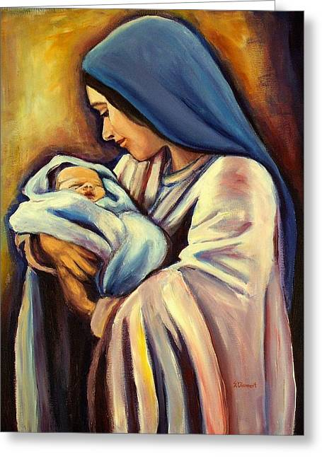 Catholic Art Greeting Cards - Madonna and Child Greeting Card by Sheila Diemert