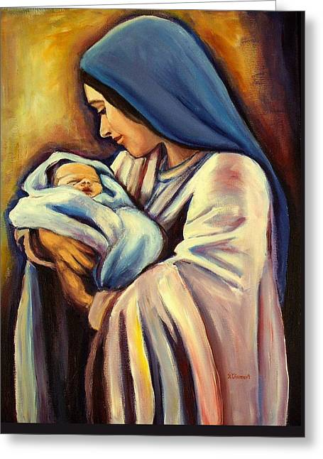 Religious ist Paintings Greeting Cards - Madonna and Child Greeting Card by Sheila Diemert