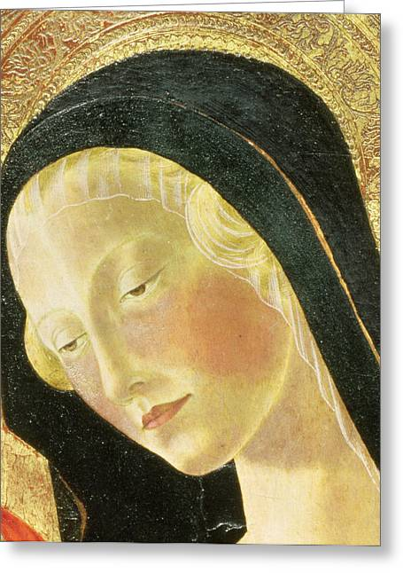 Face Greeting Cards - Madonna And Child Tempera On Panel Detail Of 9306 Greeting Card by Neroccio di Landi