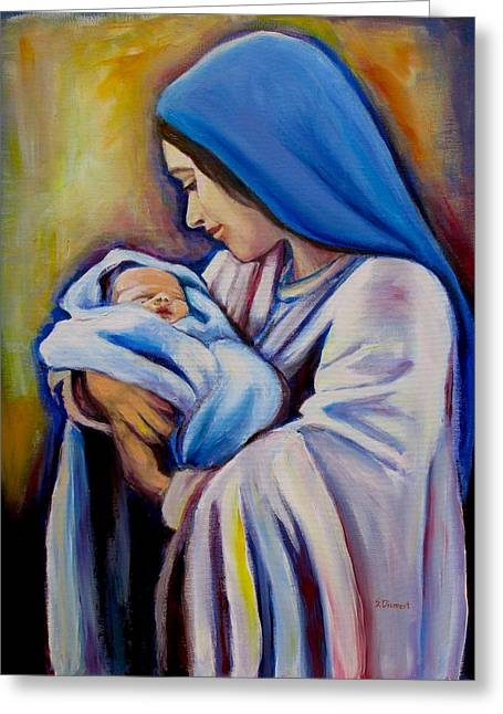 Joy To The World Greeting Cards - Madonna and Child Version 2 Greeting Card by Sheila Diemert