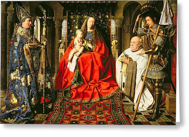 Child Jesus Greeting Cards - Madonna and Child with Canon Joris van der Paele Greeting Card by Jna Van Eyck