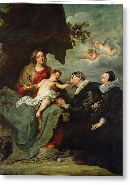 Putti Greeting Cards - Madonna And Child With Donors Oil On Canvas Greeting Card by Sir Anthony van Dyck