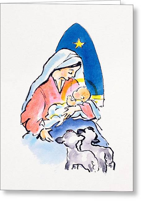 Madonna And Child With Lambs, 1996  Greeting Card by Diane Matthes