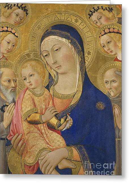 Baby Jesus Paintings Greeting Cards - Madonna and Child with Saint Jerome Saint Bernardino and Angels Greeting Card by Sano di Pietro