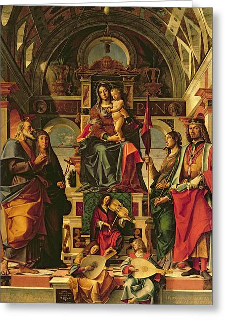 Christ Child Greeting Cards - Madonna and Child with Saints Greeting Card by Bartolomeo Montagna