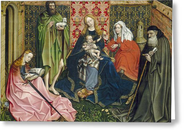 Martyrs Photographs Greeting Cards - Madonna And Child With Saints In The Enclosed Garden, C. 1440- 60 Oil On Panel Greeting Card by Master of Flemalle
