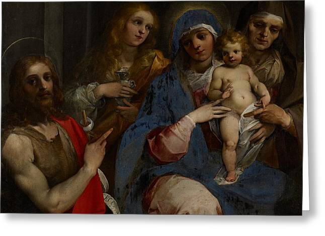Grail Greeting Cards - Madonna and Child with Saints John the Baptist with Mary Magdalene and Anne Greeting Card by Guiseppe Cesari