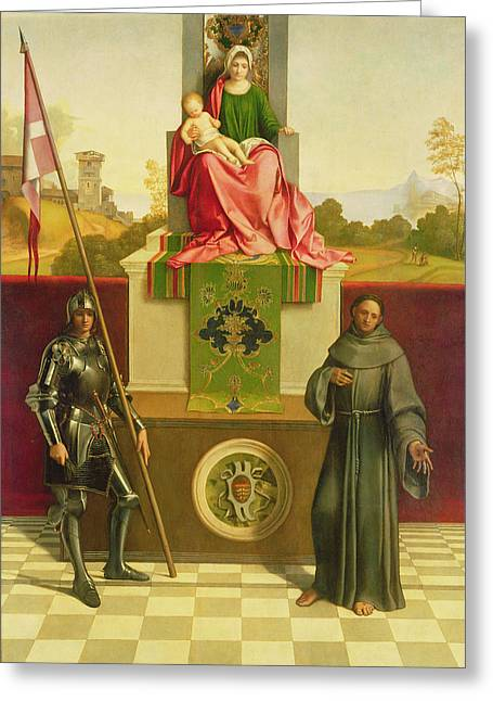 Madonna And Child With Saints Liberale And Francis Greeting Card by Giorgione
