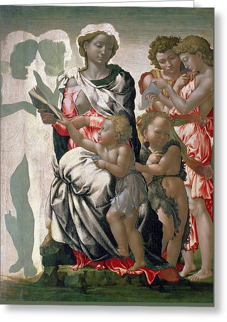 Madonna And Child With St John Greeting Card by Michelangelo Buonarroti