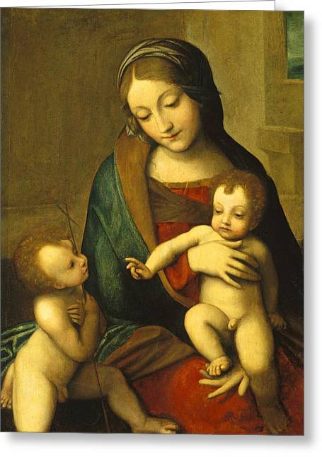 Virgin Greeting Cards - Madonna and Child with the Infant Saint John Greeting Card by Antonio Allegri Correggio