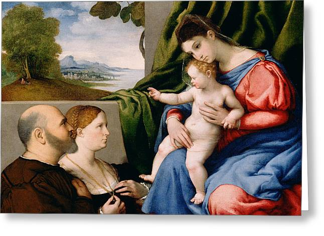 Christ Child Greeting Cards - Madonna and Child with Two Donors Greeting Card by Lorenzo Lotto