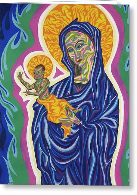 Jesus Pastels Greeting Cards - Madonna And Christ Child Greeting Card by Robert  SORENSEN