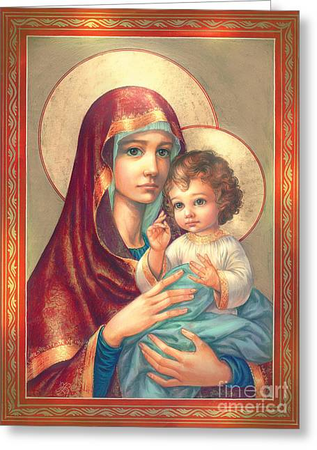 Mother Mary Digital Art Greeting Cards - Madonna and Sitting Baby Jesus Greeting Card by Zorina Baldescu