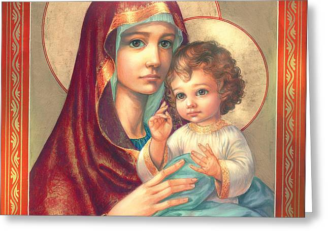 Madonna and Sitting Baby Jesus Greeting Card by Zorina Baldescu