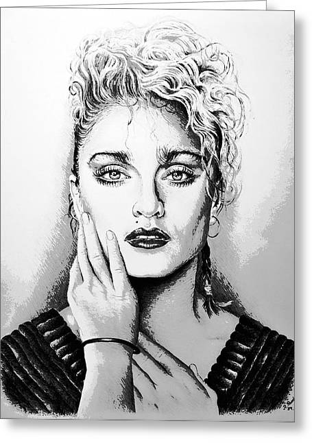 80s Pop Music Greeting Cards - Madonna Greeting Card by Andrew Read