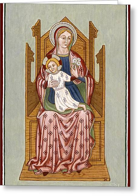 Festivities Paintings Greeting Cards - Madonna col Bambino in trono - Mother of God on the throne. Greeting Card by Raffaella Lunelli