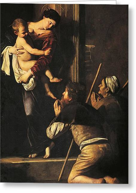 Michelangelo Caravaggio Greeting Cards - Madonna dei Pellegrini or Madonna of Loreto Greeting Card by Michelangelo Merisi da Caravaggio
