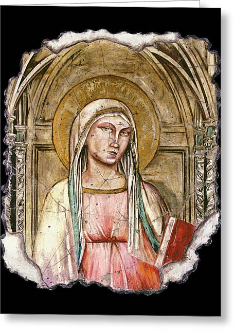 Virgin Mary Greeting Cards - Madonna Del Parto Greeting Card by Steve Bogdanoff
