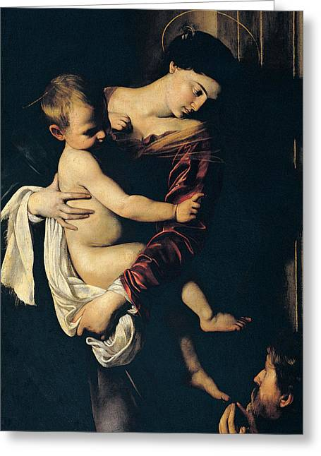 Madonna And Child Greeting Cards - Madonna di Loreto Greeting Card by Caravaggio