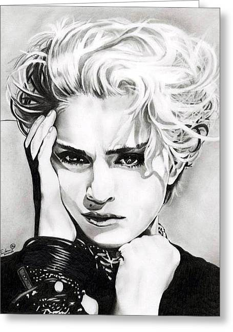 Pop Singer Drawings Greeting Cards - Madonna Greeting Card by Fred Larucci