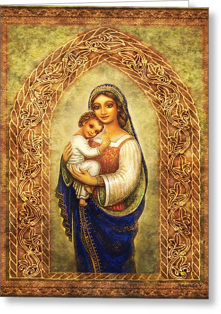 Spiritual Art Greeting Cards - Madonna in an Arch Greeting Card by Ananda Vdovic