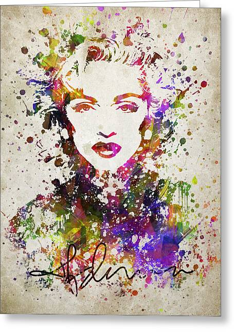 Portrait Digital Greeting Cards - Madonna in Color Greeting Card by Aged Pixel