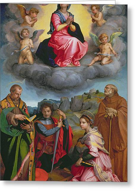 Virgin Greeting Cards - Madonna in Glory with Four Saints Greeting Card by Andrea del Sarto