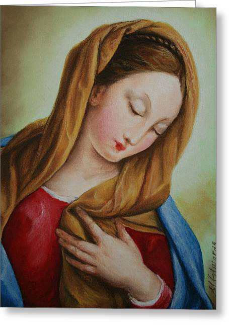 Faith Pastels Greeting Cards - Madonna Greeting Card by Marna Edwards Flavell
