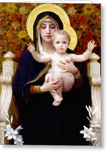 Jesus With Children Greeting Cards - Madonna of lilies Greeting Card by Bouguereau