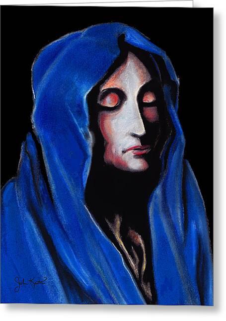 Mary Pastels Greeting Cards - Madonna of Sorrows Greeting Card by John Keaton