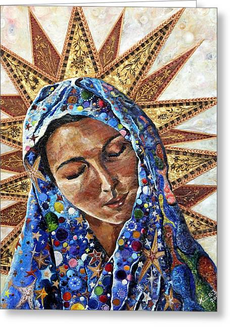 Virgin Paintings Greeting Cards - Madonna of the Dispossessed Greeting Card by Mary C Farrenkopf