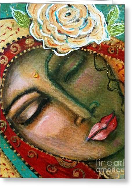 Madonna Of The First Breath Greeting Card by Maya Telford
