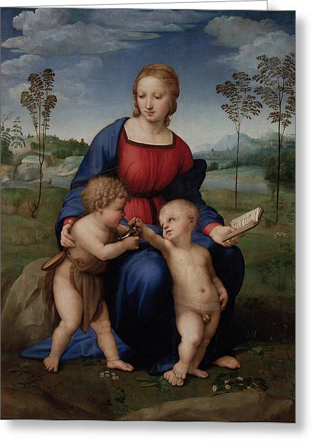 1506 Greeting Cards - Madonna of the Goldfinch Greeting Card by Raphael