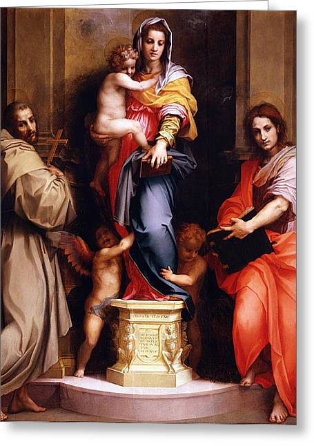 The Uffizi Greeting Cards - Madonna of the Harpies Greeting Card by Andrea del Sarto