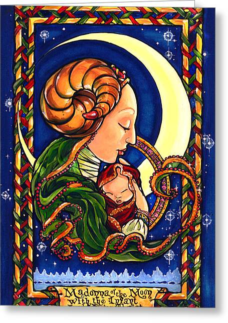 Baby In A Manger Greeting Cards - Madonna of The Moon Greeting Card by Sandra Paradise