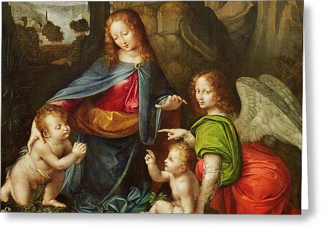 Christ Child Greeting Cards - Madonna of the Rocks Greeting Card by Leonardo da Vinci