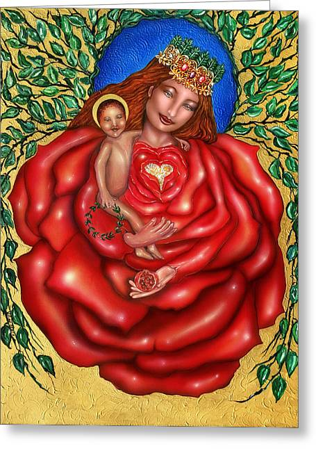 Full Of Wisdom Greeting Cards - Madonna of the Rose Greeting Card by Ilene Satala