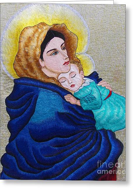 Totam Tapestries - Textiles Greeting Cards - Madonna of the Street Hand Embroidery Greeting Card by To-Tam Gerwe